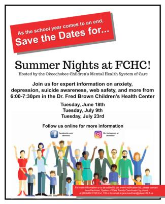 "Join us this summer as we revisit some of our most impactful family night of the 2018-2019 school year! Our ""Summer Nights"" series will be held at the Dr. Fred Brown Children's Center from 6:00-7:30pm on Tuesdays June 18th, July 9th, and July 23rd. Our topics for this summer include Anxiety and Depression, Suicide Awareness, and Web Safety. See you there!"